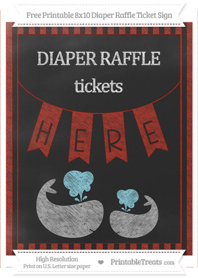 Free Turkey Red Striped Chalk Style Baby Whale 8x10 Diaper Raffle Ticket Sign