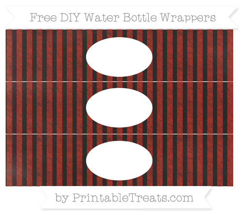 Free Turkey Red Striped Chalk Style DIY Water Bottle Wrappers