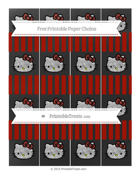 Free Turkey Red Striped Chalk Style Hello Kitty Paper Chains