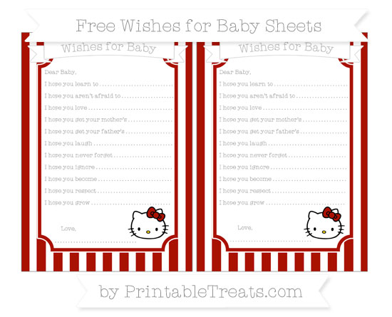 Free Turkey Red Striped Hello Kitty Wishes for Baby Sheets