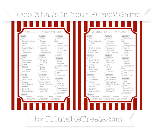 Free Turkey Red Striped What's in Your Purse Baby Shower Game