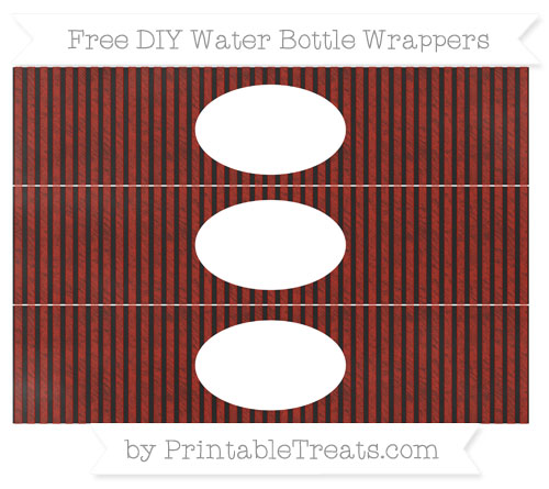 Free Turkey Red Thin Striped Pattern Chalk Style DIY Water Bottle Wrappers