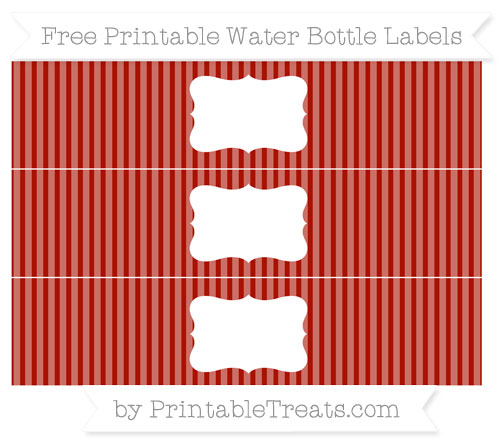 Free Turkey Red Thin Striped Pattern Water Bottle Labels