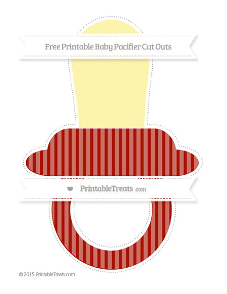 Free Turkey Red Thin Striped Pattern Extra Large Baby Pacifier Cut Outs