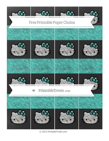 Free Turquoise Chalk Style Hello Kitty Paper Chains