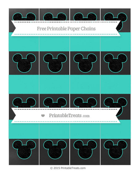 Free Turquoise Chalk Style Mickey Mouse Paper Chains
