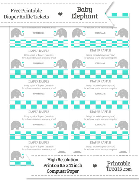 Free Turquoise Checker Pattern Baby Elephant Diaper Raffle Tickets