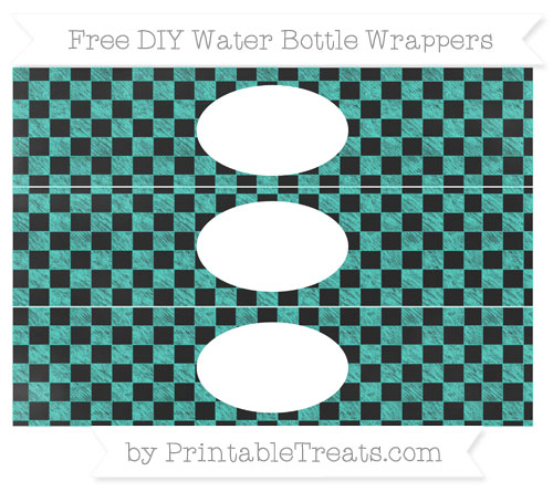 Free Turquoise Checker Pattern Chalk Style DIY Water Bottle Wrappers