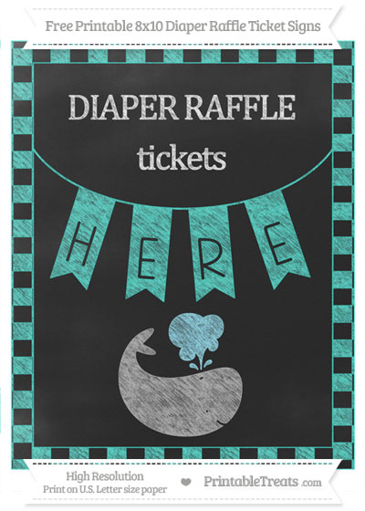 Free Turquoise Checker Pattern Chalk Style Whale 8x10 Diaper Raffle Ticket Sign