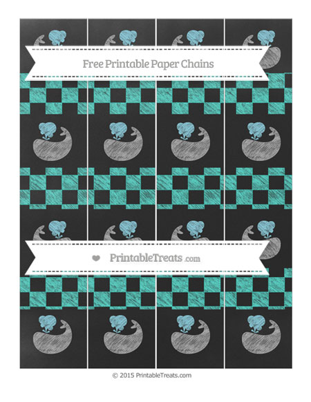 Free Turquoise Checker Pattern Chalk Style Whale Paper Chains