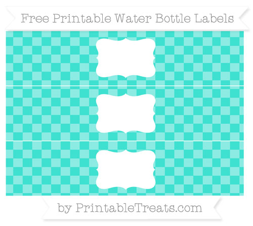 Free Turquoise Checker Pattern Water Bottle Labels