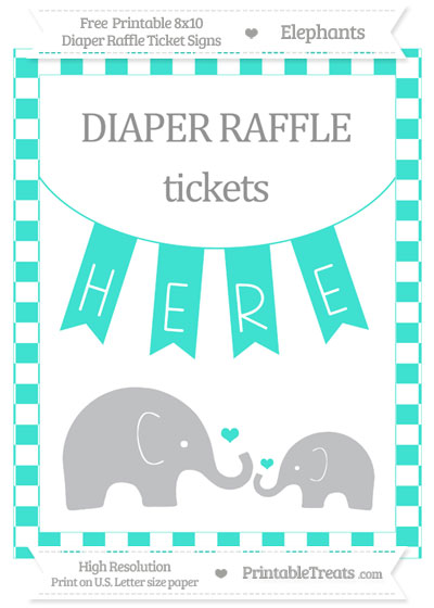 Free Turquoise Checker Pattern Elephant 8x10 Diaper Raffle Ticket Sign