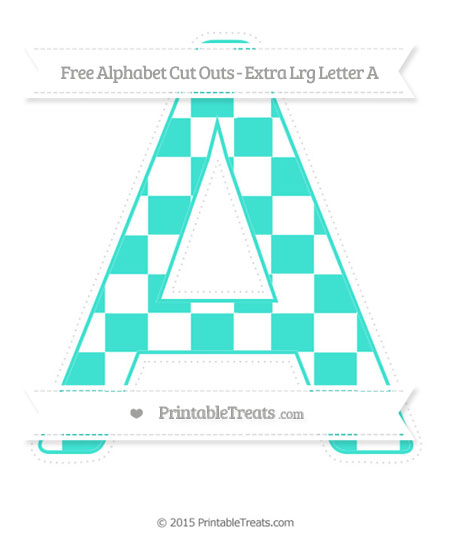 Free Turquoise Checker Pattern Extra Large Capital Letter A Cut Outs
