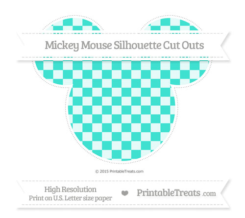 Free Turquoise Checker Pattern Extra Large Mickey Mouse Silhouette Cut Outs