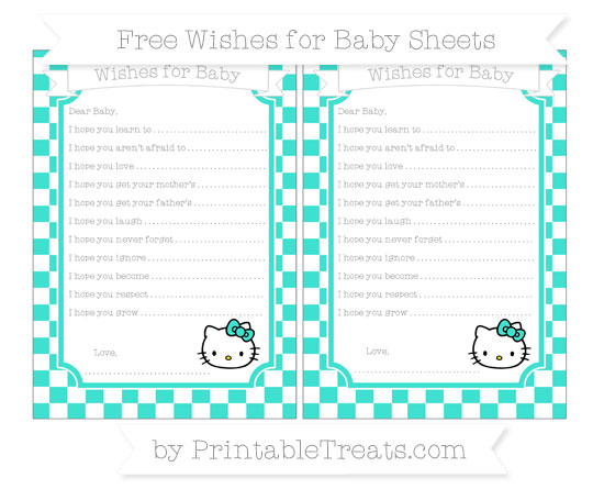 Free Turquoise Checker Pattern Hello Kitty Wishes for Baby Sheets