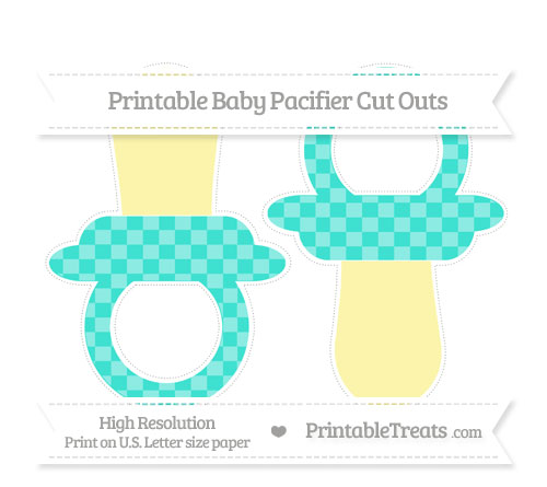 Free Turquoise Checker Pattern Large Baby Pacifier Cut Outs