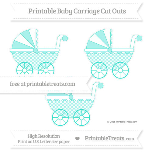 Free Turquoise Checker Pattern Medium Baby Carriage Cut Outs