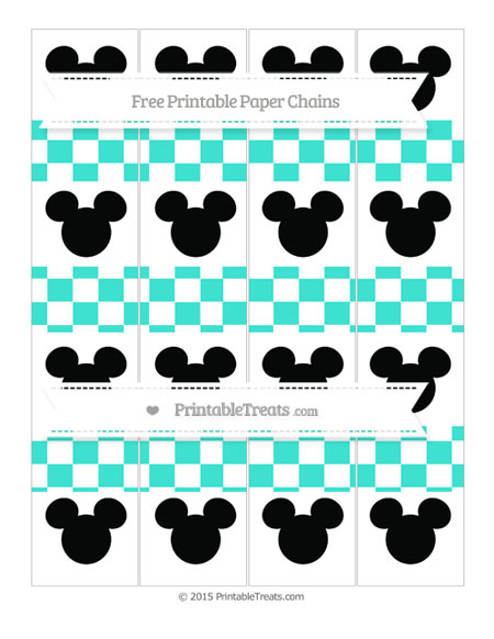 Free Turquoise Checker Pattern Mickey Mouse Paper Chains