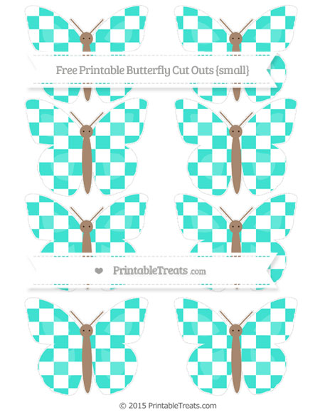 Free Turquoise Checker Pattern Small Butterfly Cut Outs