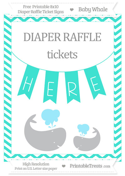 Free Turquoise Chevron Baby Whale 8x10 Diaper Raffle Ticket Sign