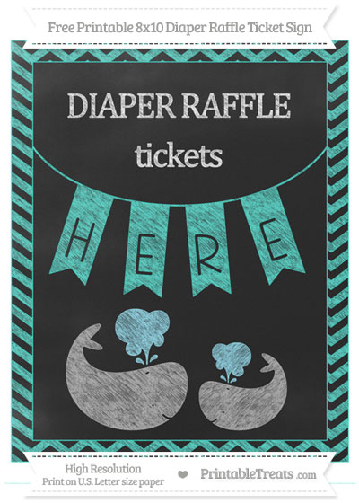 Free Turquoise Chevron Chalk Style Baby Whale 8x10 Diaper Raffle Ticket Sign