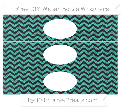 Free Turquoise Chevron Chalk Style DIY Water Bottle Wrappers