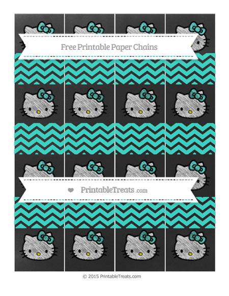 Free Turquoise Chevron Chalk Style Hello Kitty Paper Chains
