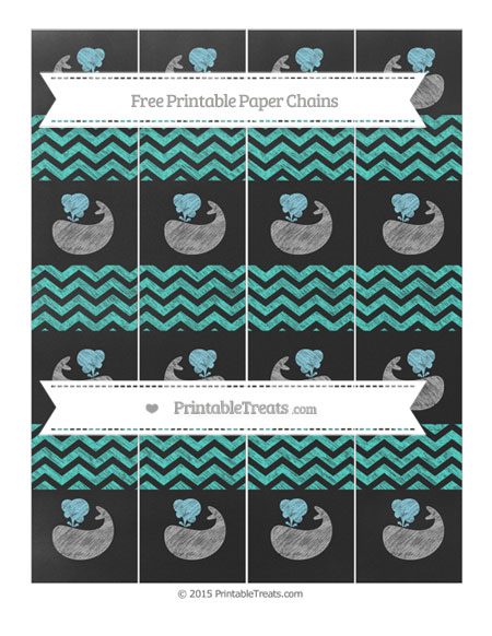 Free Turquoise Chevron Chalk Style Whale Paper Chains