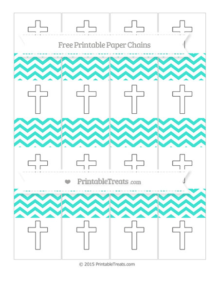 Free Turquoise Chevron Cross Paper Chains