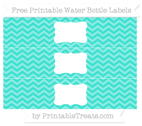 Free Turquoise Chevron Water Bottle Labels