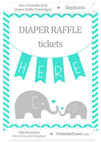 Free Turquoise Chevron Elephant 8x10 Diaper Raffle Ticket Sign