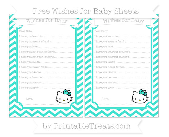 Free Turquoise Chevron Hello Kitty Wishes for Baby Sheets
