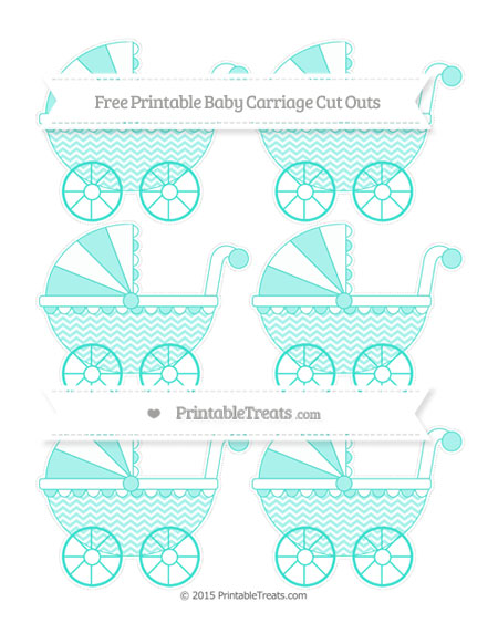 Free Turquoise Chevron Small Baby Carriage Cut Outs