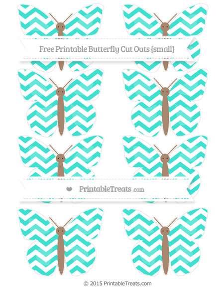 Free Turquoise Chevron Small Butterfly Cut Outs