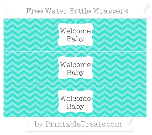 Free Turquoise Chevron Welcome Baby Water Bottle Wrappers