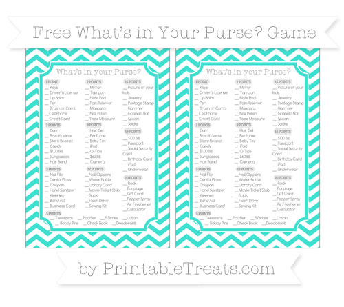 Free Turquoise Chevron What's in Your Purse Baby Shower Game