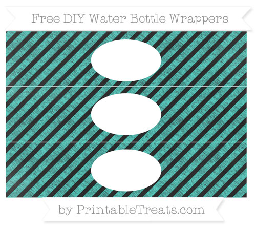 Free Turquoise Diagonal Striped Chalk Style DIY Water Bottle Wrappers
