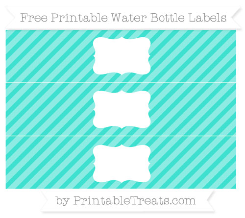 Free Turquoise Diagonal Striped Water Bottle Labels
