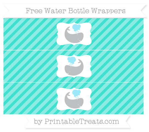 Free Turquoise Diagonal Striped Whale Water Bottle Wrappers