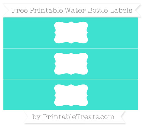 Free Turquoise Water Bottle Labels