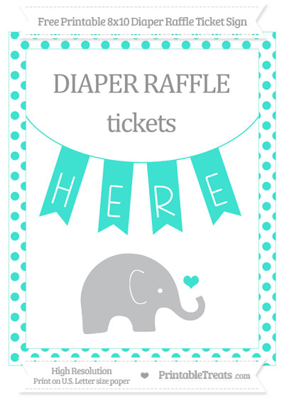 Free Turquoise Dotted Baby Elephant 8x10 Diaper Raffle Ticket Sign