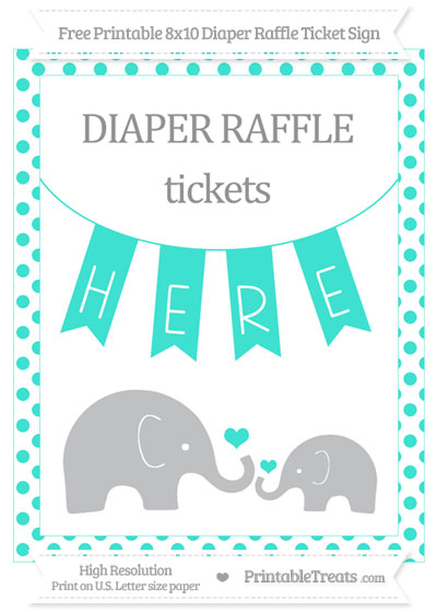 Free Turquoise Dotted Elephant 8x10 Diaper Raffle Ticket Sign