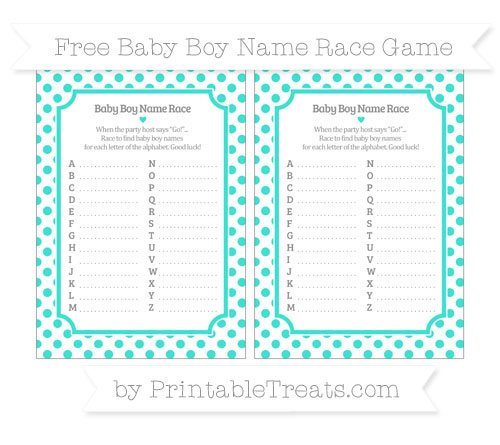 Free Turquoise Dotted Pattern Baby Boy Name Race Game