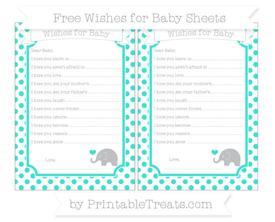 Free Turquoise Dotted Pattern Baby Elephant Wishes for Baby Sheets