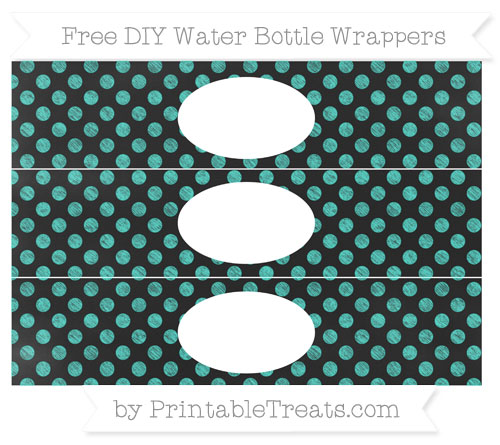 Free Turquoise Dotted Pattern Chalk Style DIY Water Bottle Wrappers