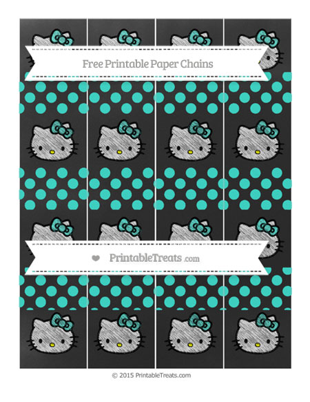 Free Turquoise Dotted Pattern Chalk Style Hello Kitty Paper Chains