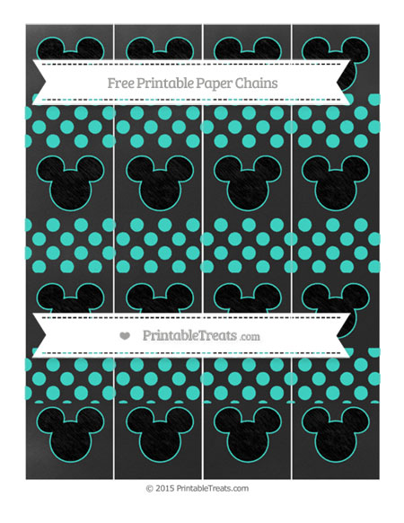 Free Turquoise Dotted Pattern Chalk Style Mickey Mouse Paper Chains