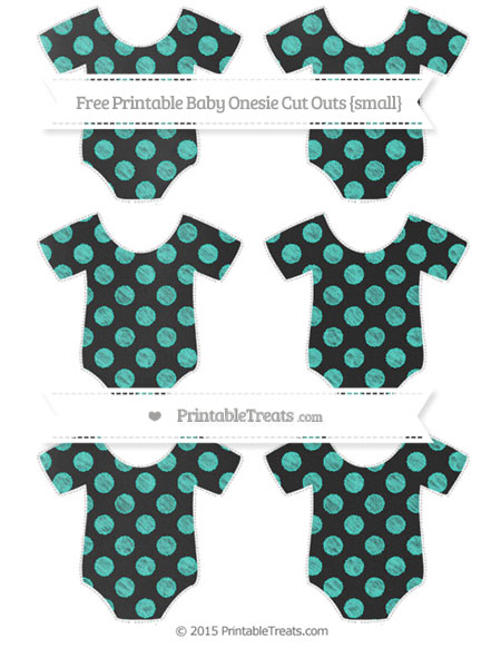 Free Turquoise Dotted Pattern Chalk Style Small Baby Onesie Cut Outs