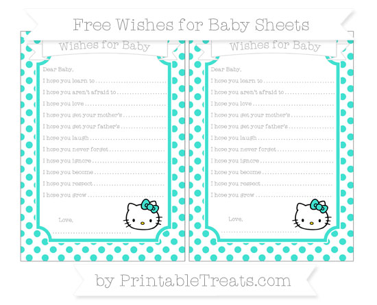 Free Turquoise Dotted Pattern Hello Kitty Wishes for Baby Sheets