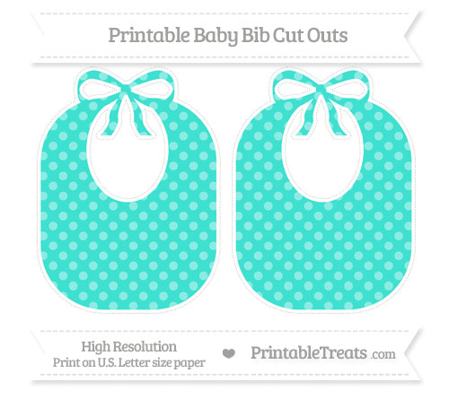 Free Turquoise Dotted Pattern Large Baby Bib Cut Outs